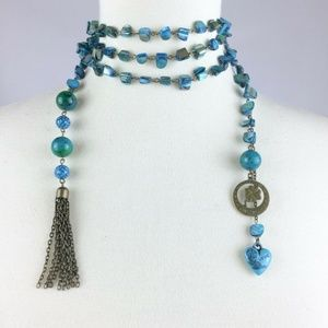 Long Bohemian Mother of Pearl Wrap Necklace Tassel
